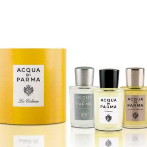 Un elegante set che offre l'opportunità di indossare i profumi Acqua di Parma a seconda delle occasioni. Tre formati da 20 ml: Colonia, Colonia Intensa e Colonia Pura.