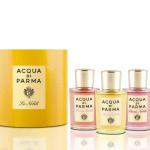 Un elegante set contenente 3 iconiche fragranze della collezione Le Nobili: Peonia Nobile, Rosa Nobile e Magnolia Nobile, nel pratico formato da 20 ml.